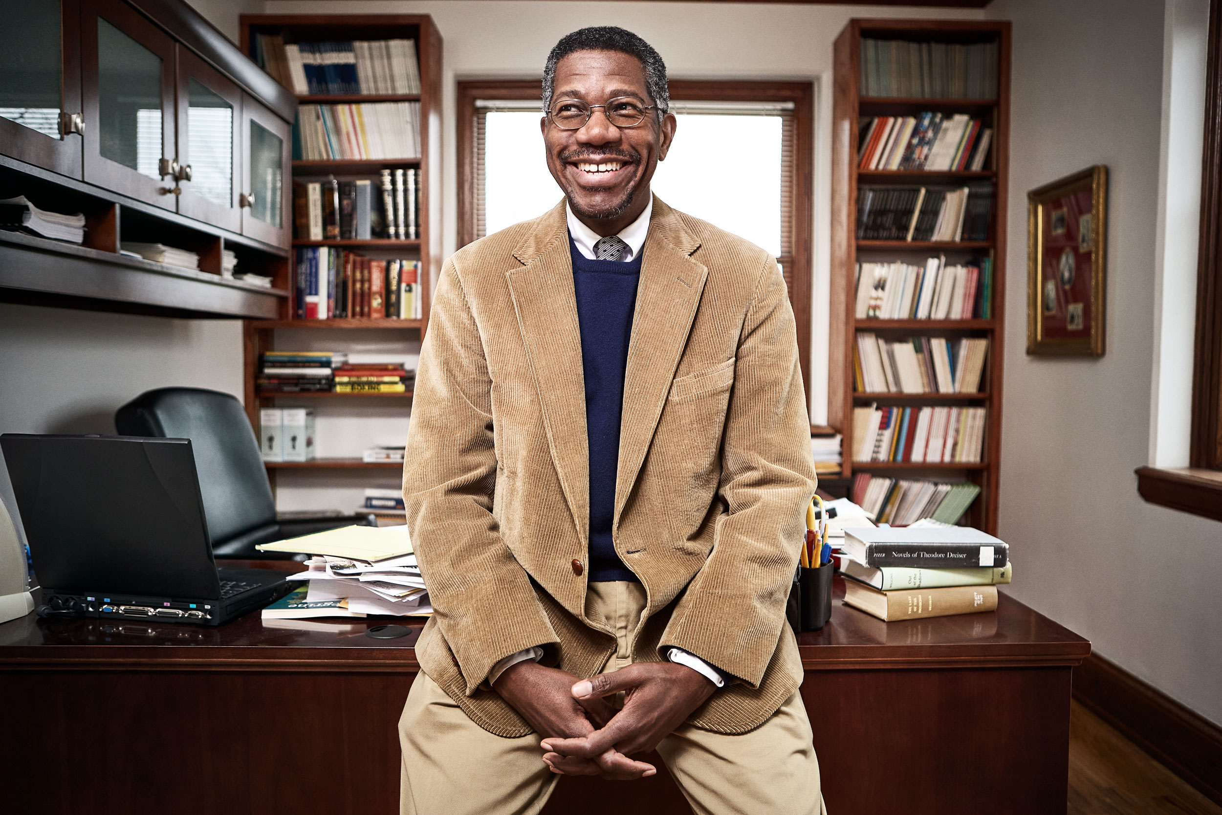 Professor Gerald Early, Chair of African and African-American Studies at Washington University in St. Louis, photographed in his office.